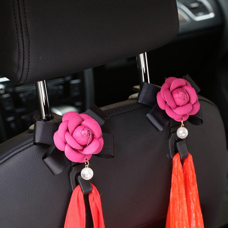 2tk / part Camellia lilled autoistme taga konksud riidepuude - Auto salongi tarvikud - Foto 3