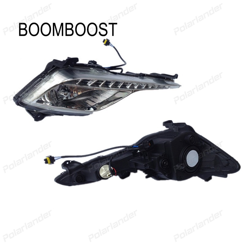 BOOMBOOST Waterproof ABS LED car DRL  for H/yundai S/onata 2013 - 2015 Daytime running lights With Turning Signal Light