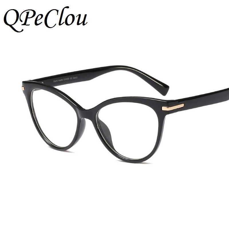 64107caf232 ... QPeClou New Brand Cat Eye Glasses Women Fashion Big Eyeglasses Frame  Female 2018 Clear Lens Glasses ...