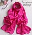 Одеяло шарф 100% чистого Шелкового атласа Джерси хиджаб Выросли красный double faced равнине пашмины шали мода британский дизайнер Шарфы