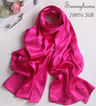 blanket scarf 100% pure satin Silk Jersey hijab Rose red double faced plain pashmina shawls  fashion british designer Scarves