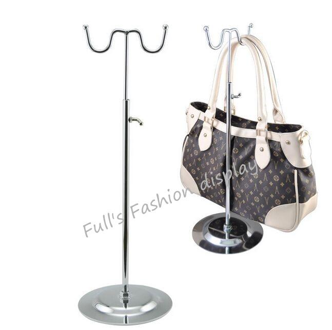 Coat Racks Silver Black Double Hook Women Bag Display Rack Holder Adjustable Wig/silk Scarf/purse/handbag Display Stand Metal Baking Paint Living Room Furniture