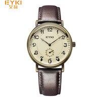 EYKI Casual Retro Vintage Watch Men Women Luxury Brand Quartz Dress Watches Clock Leather Men S