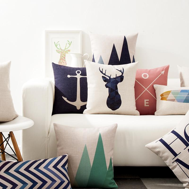 Nordic Deer Pillow Cover Anchor Cushion Cover Chevron