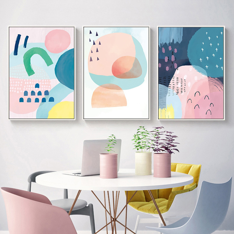 Us 3 49 50 Off Abstract Watercolor Multi Pink Princess Canvas Paintings Nordic Poster Print Nursery Wall Art Pictures For S Room Home Decor In