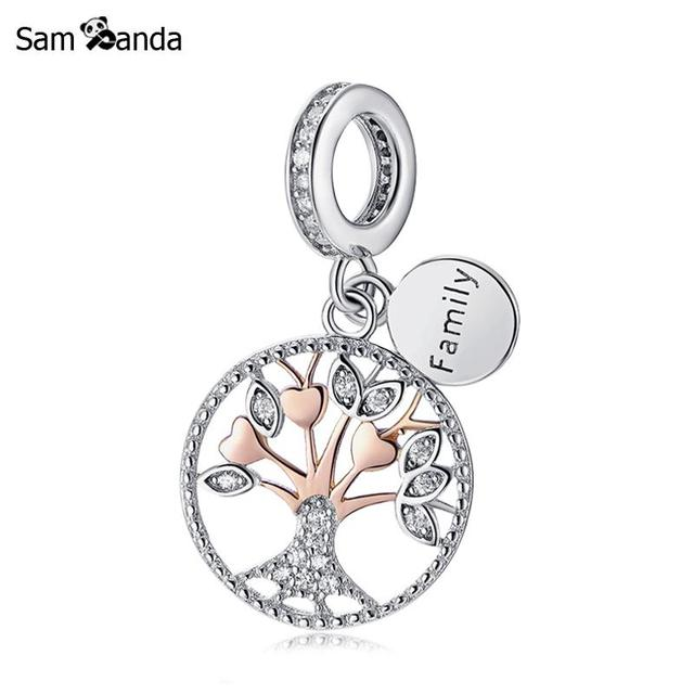9da7e7bdb Authentic 925 Sterling Silver Bead Charm Rose Gold Family Tree Of Life  Pendant Charms Fit Pandora