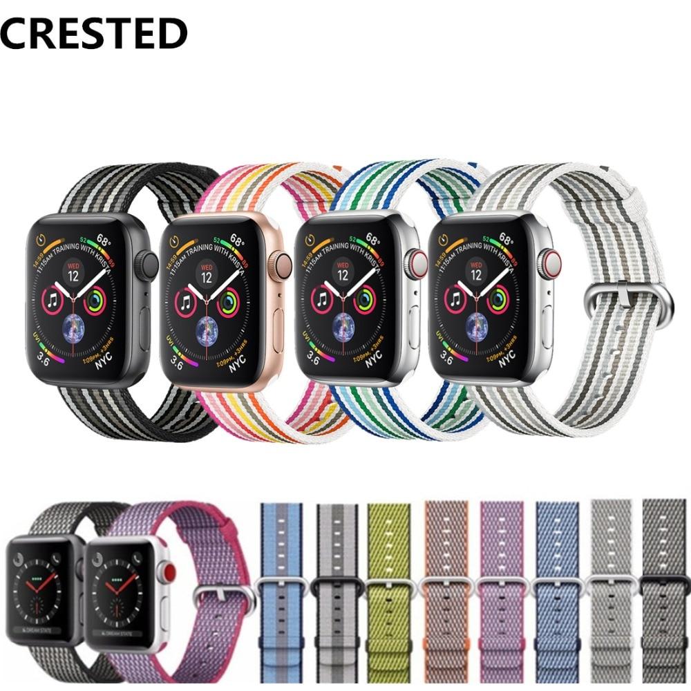 CRESTED Sport Woven Nylon band Für Apple Uhr 4 44mm/40mm Strap iwatch serie 3 2 1 42mm 38mm handgelenk armband stoff gürtel correa