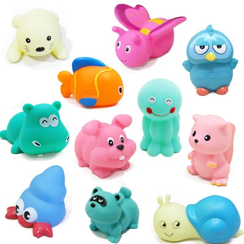 50PCS/lot Baby bath toys vehicle model Soft Rubber cartoon Animals ...