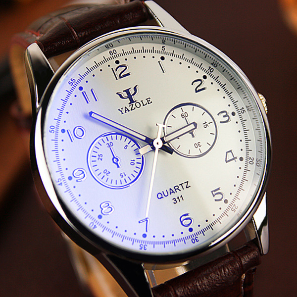 YAZOLE Mens Watches Top Brand Luxury Fashion Casual Business Waterproof Leather Quartz Watch Male Clock Montre Homme