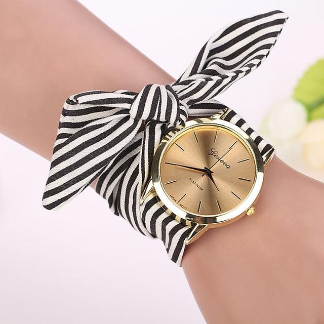Fashion Women Stripe Floral Cloth Quartz Dial Bracelet Wristwatch Watch Luxury B