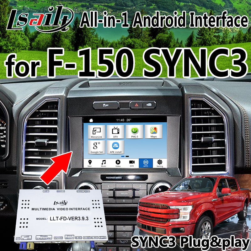 Android 6.0 7.1 Car GPS Navigation box for Ford F150 Sync3 built in LVDS Video Interface & camera interface , google play