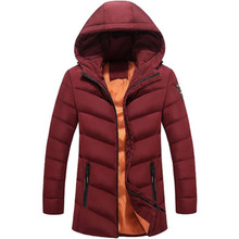 Fashion Brand Winter Thicken Warm Coat Cotton Men Clothes Long Sleeves Hooded Men's Parkas Casual Male Outerwear Plus Size 1718