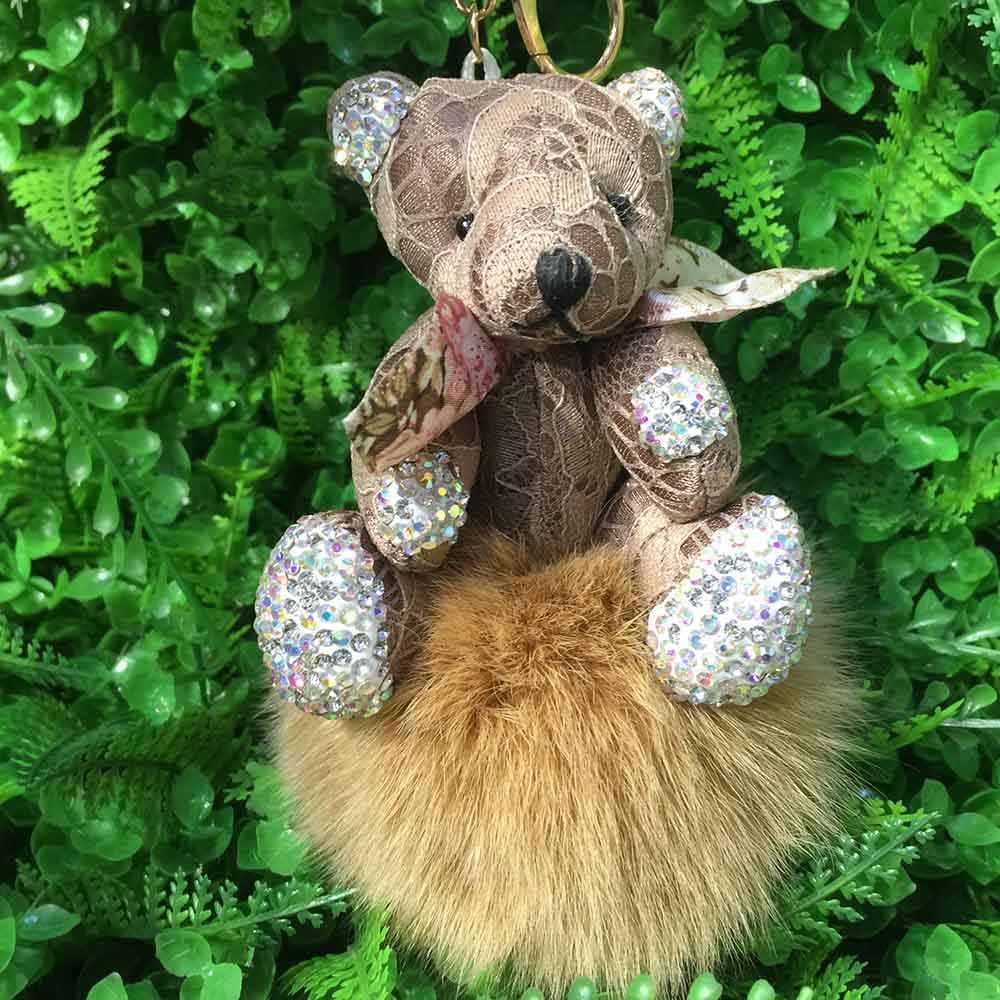 Moda Chaveiro de Pele De Raposa com Urso Pingente Genuine Fox Fur PomPom PomPom Keychain Moda Chaveiro Carro Charme Saco