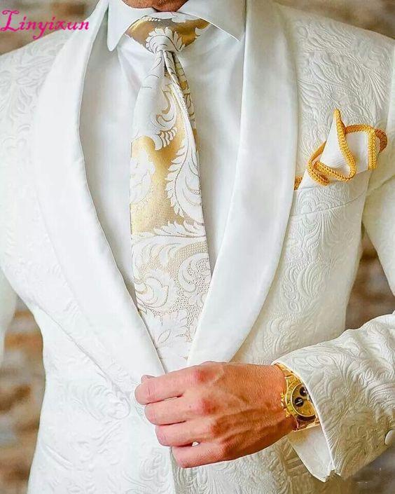 Linyixun biały Paisley smokingi wełna w jodełkę garnitury ślubne dla mężczyzn brytyjski styl mężczyzna garnitur slim fit Blazer (kurtka + spodnie) w Garnitury od Odzież męska na  Grupa 1
