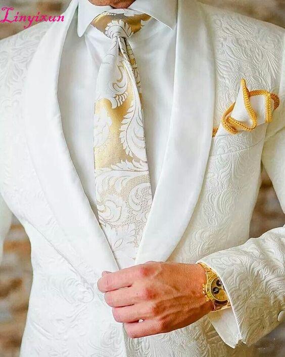 Linyixun blanc Paisley tuxedos laine chevrons costumes de mariage pour hommes style britannique hommes costume slim fit Blazer (veste + pantalon)