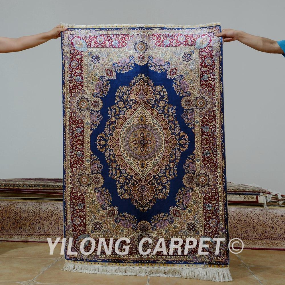 Oriental Rugs Houston: Yilong 3'x4.5' Antique Persian Silk Blue Carpet Hand