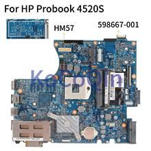 Материнская плата KoCoQin для ноутбука HP Probook 4520S, 4720S, HM57, материнская плата 598667 001, 598667 501, 55, 4gk06. 041