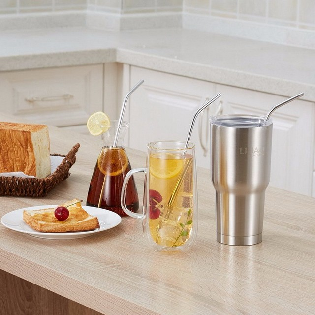 a0e3c302edc US $55.1 |Stainless Steel Straws Durable Reusable Metal 10.5inch Extra Long  Bend Drinking Straws for yeti cups 20oz 30oz Tervis Tumbler-in Other Bar ...