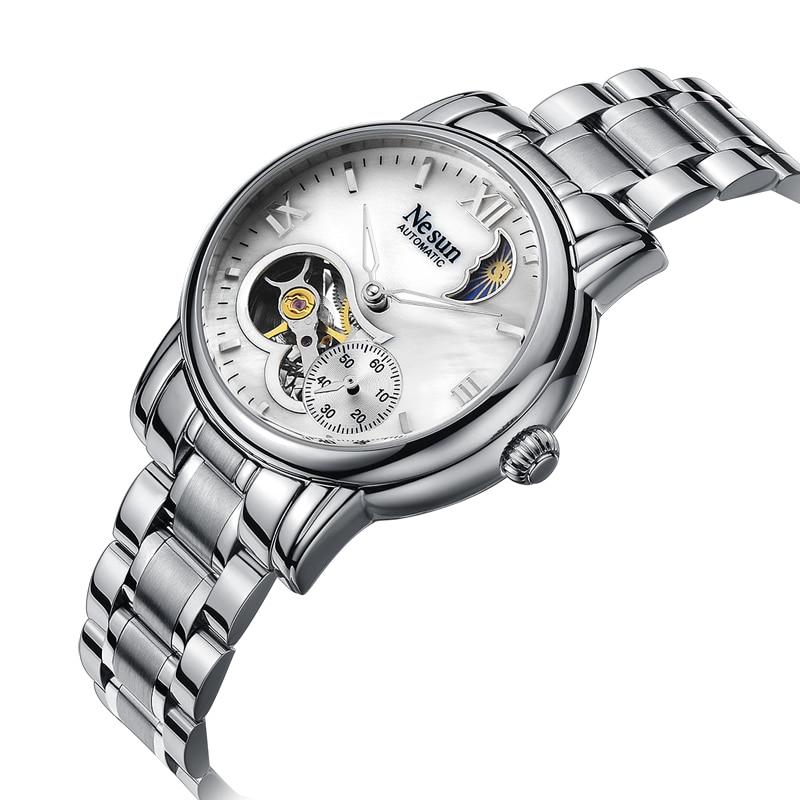 Switzerland New Luxury Brand Nesun Hollow Women Watch Automatic Self-Wind Stainless steel Clock Waterproof Watches women N9061-1