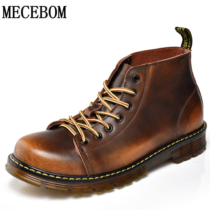 Men's martin boots leisure quality genuine leather ankle boot for male lace up casual shoes chaussure homme size 38-44 1794m  fashion british style men s genuine matte leather boot shoes casual lace up male martin ankle chunky booties homme s4472