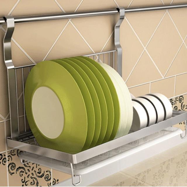 Stainless Steel Folding Hanging Dish Rack Draining Bowl Plates Organizer Tableware Kitchen Stoarge Shelf