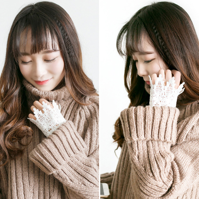Korean Beautiful Goddess Lace Hollow Hook Accessories Outdoor Apparel Arm Warmers Women Fake Arm Sleeves Organ Pleated Cuff