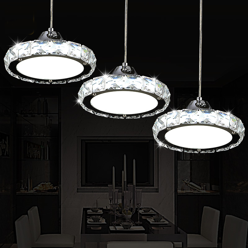 все цены на Restaurant chandelier crystal lamp three simple modern table lamp round LED kitchen bar dining room dining chandeliers