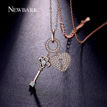 NEWBARK Charm Key To Love Heart Necklaces & Pendants Rose Gold Plated Silver Color CZ Diamond Chain Jewelry Women Christmas Gift