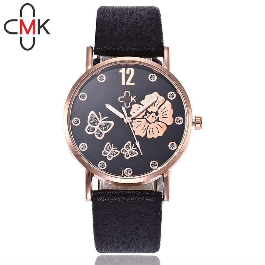 CMK Women Rhinestone Butterfly Watches Top Brand Casual Fashion Leather Strap Quartz Wristwatches Clock Relogio Feminino women s classic rhinestone wristwatches women fashion casual quartz watch best leather strap anolog korea brand julius 681 clock