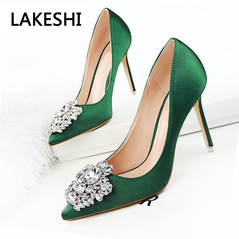 все цены на New 2017 Spring Autumn Women Pumps Elegant Rhinestone Silk Satin High Heels Shoes Sexy Thin Pointed Single Shoes 7 Color