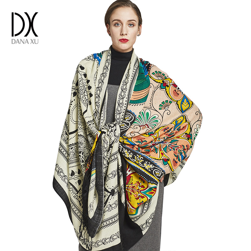 100% Wool Square Head Scarves Women Elegant Lady Carf And Warm Shawl Long Animal Print Stoles Bandana Scarf Hijab Beach Blanket