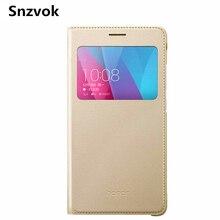 Snzvok Window Flip PU Leather Case For Huawei honor mate 8 9 pro Nova P10 Plus 7 7i 8 v8 P8 P9 lite enjoy 5s 6 Play 5X 6X Cover