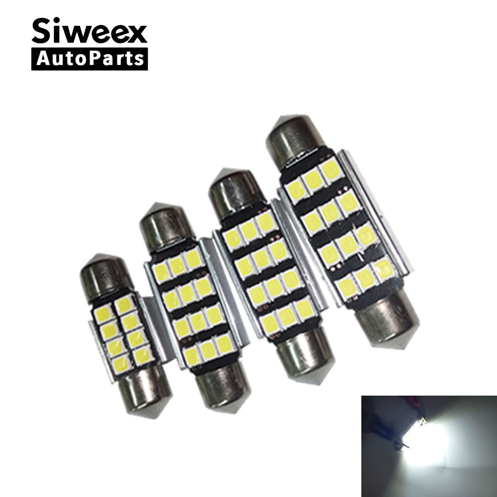 4pcs 31mm 36mm 39mm 41mm C5W CANBUS No Error 2835 12 SMD White Led Car License Plate Lights Dome Reading Lamp DC 12V cawanerl car canbus led package kit 2835 smd white interior dome map cargo license plate light for audi tt tts 8j 2007 2012