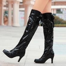 Plus Größe 26-62 Pole Dance Stiefel Lace Up High Heels Stiefel Sexy Lackleder Kniehohe Stiefel Frauen Rot Weiß Schwarz WSH353