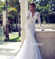 Sexy Deep V Neck Bridal Gowns Robe De Mariage Chiffon Appliques Bride Dress Lace Long Sleeve Mermaid Backless Wedding Dresses
