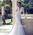 Sexy Deep V Neck Bridal Gowns Robe De Mariage Chiffon Appliques Bride Dress Lace Long Sleeve Mermaid Backless Wedding Dresses