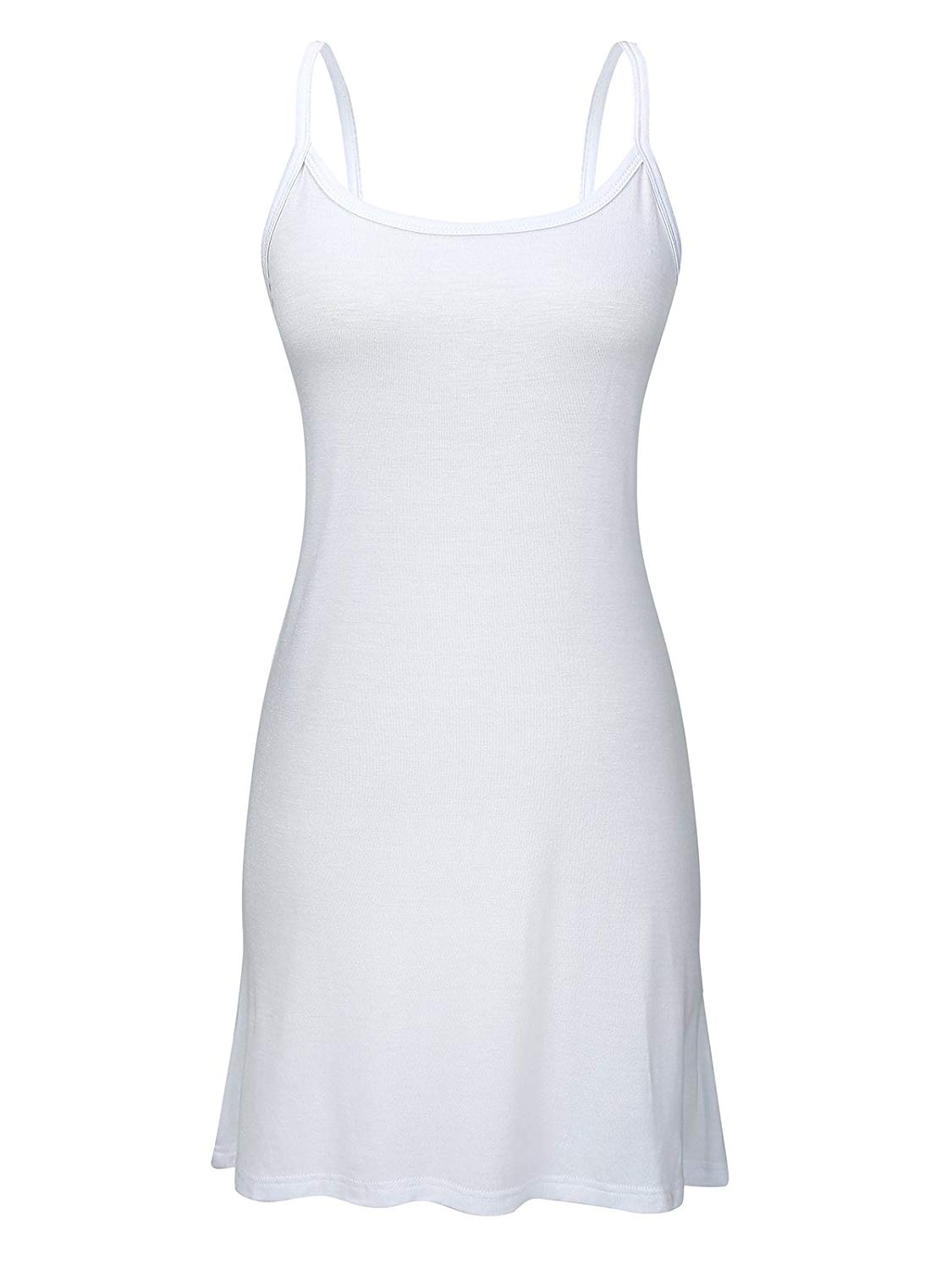 Women s Stretch Cotton Cami Basic Solid Long Length Adjustable Spaghetti Strap Tank Top