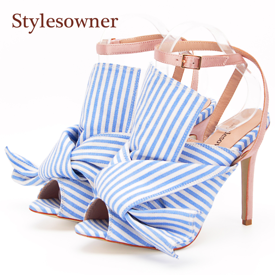 Stylesowner Lady Sweet Style Ankle Strap High Heels Women Sandal Shoe Satin Big Butterfly-knot Bowtie Stripe Shoe Open Toe 34-43 stylesowner elegant lady pumps sandal shoe sheepskin leather diamond buckle ankle strap summer women sandal shoe