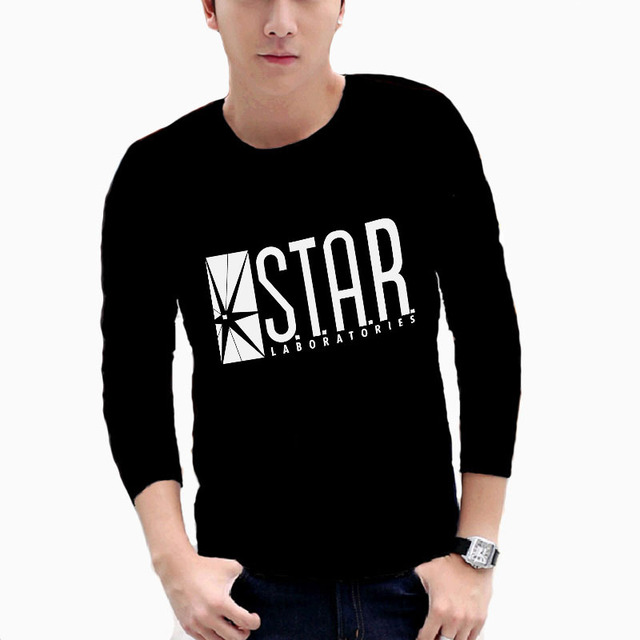 c576424d American Drama The Flash Tee T Shirt Star Laboratories tshirt Gotham City  Comic Books Star Labs Long Sleeve t-shirt Camisetas