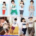 Бесплатная доставка 100% хлопок одежда наборы летние дети комплект одежды девушки парни одежда устанавливает футболку + брюки 2 шт.