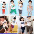 Frete grátis 100% algodão conjuntos de roupas de verão crianças conjunto de roupas meninas meninos roupas define t shirt + calças 2 pcs