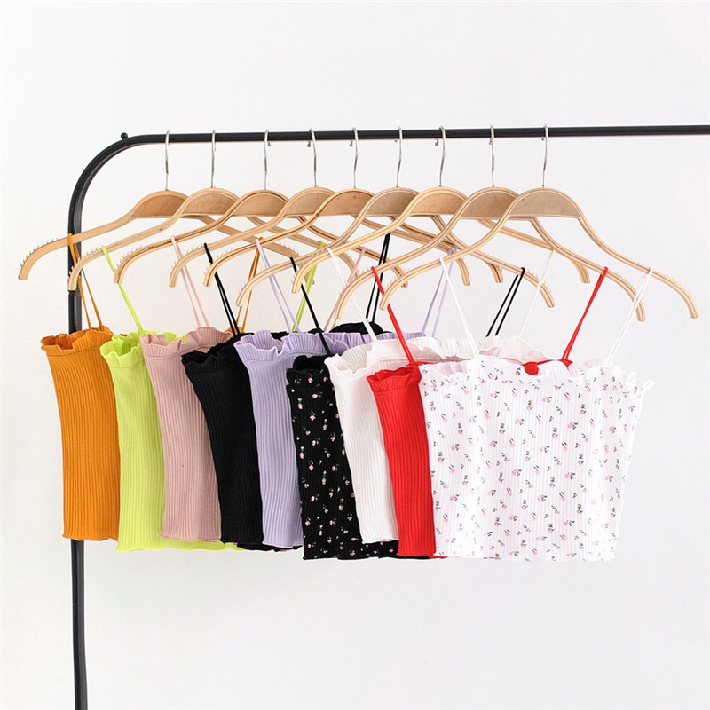 2018 summer Sexy elastic crop top women slim female Cotton camis solid casual tank tops 9 color