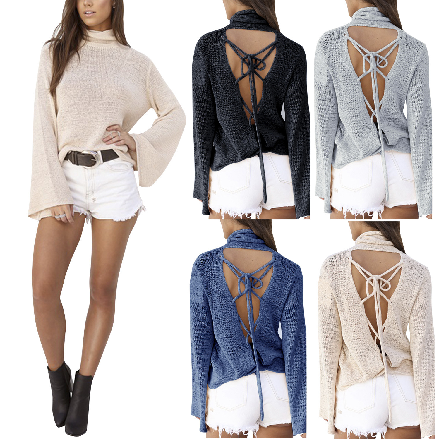 Sexy Women Long Sleeve Casual Knitted Loose Sweater Lace up Backless Outwear Coat Sweater 2016 European And American Am