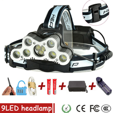 HUSUYUHU SISI 36000LM USB 9 LED Led Headlamp Headlight Head Flashlight Torch XM-L T6 Head Lamp Rechargeable for 18650 Battery цена