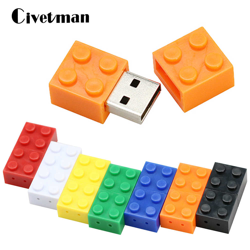 Mainan Brick Flashdisk 128G USB Flash Drive 64GB Plastik Blok Bangunan Flashdisk 16 GB Pen Drive real Capacity USB CLE