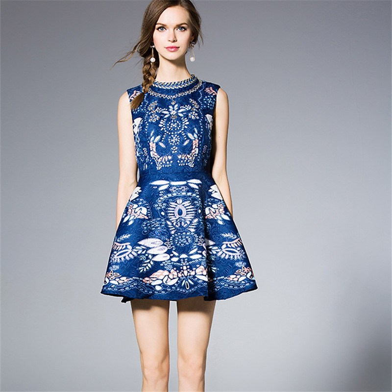 women dress Womens High Quality Noble Party Dress Luxurious Printed Beading Rivet Diamond Dobby Cotton Tank Dress dresses