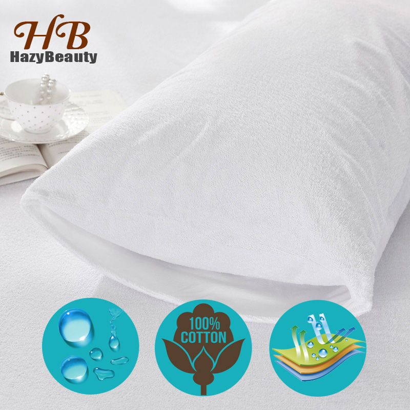 4-Pack Cotton Terry Pillow Protector 100% Waterproof Protector Hypoallergenic Soft And Comfortable Pillowcase Covers(No Zipper)