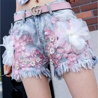 Women's Beaded embroidery Denim Shorts Fashion Brand Vintage Tassel Ripped Loose High Waist Shorts Punk Sexy Short Jeans