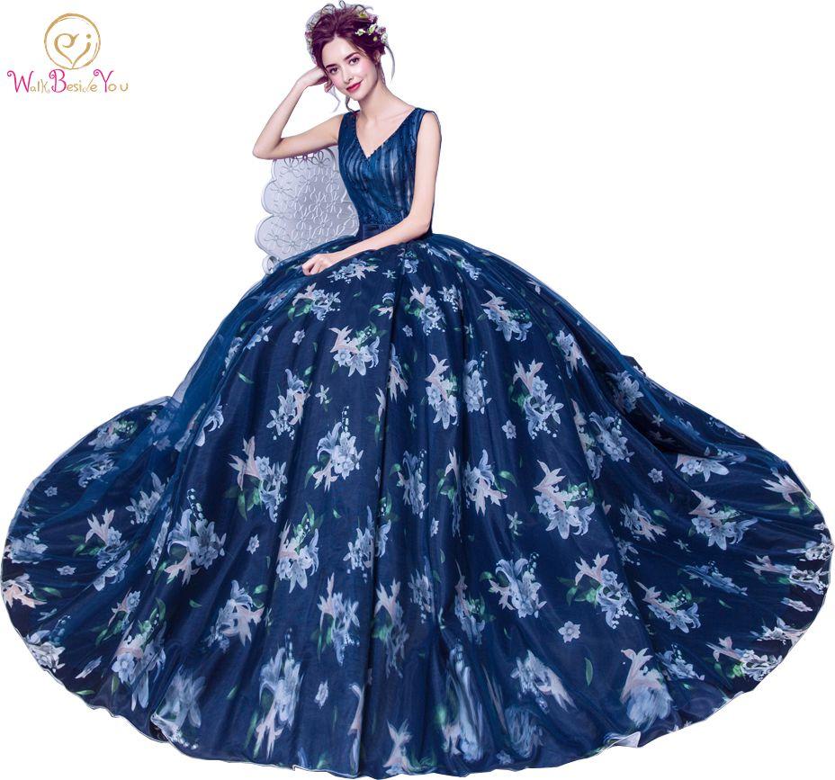Walk Naast jou Marineblauw Print Avondjurken V-hals Parel Prom Gown - Jurken voor bijzondere gelegenheden
