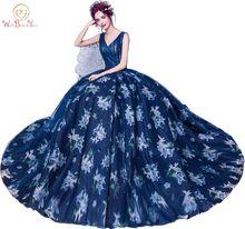 Marchez à côté de vous bleu marine imprimé robes de soirée col en V perle robe de bal robe de festa robe de soirée longue 2017